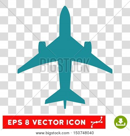 Vector Jet Plane EPS vector icon. Illustration style is flat iconic soft blue symbol on a transparent background.