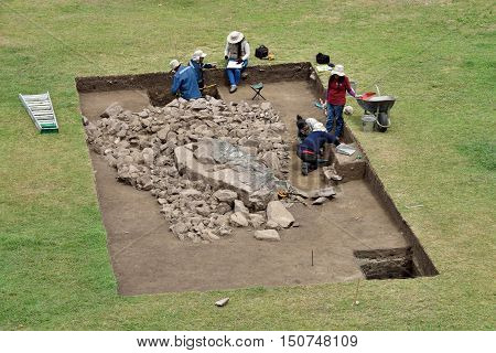 MACHU PICCHU PERU - September 02 2016: Archeological excavation in Machu Picchu site on September 02 2016. Machu Picchu Unesco World Heritage site and New 7 Wonder of the world.