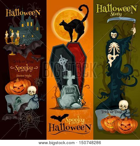 Halloween spooky party decoration banners with halloween pumpkin, dark night graveyard, skeleton scythe, vampire coffin, black cat. Horror night party vector placard, poster design