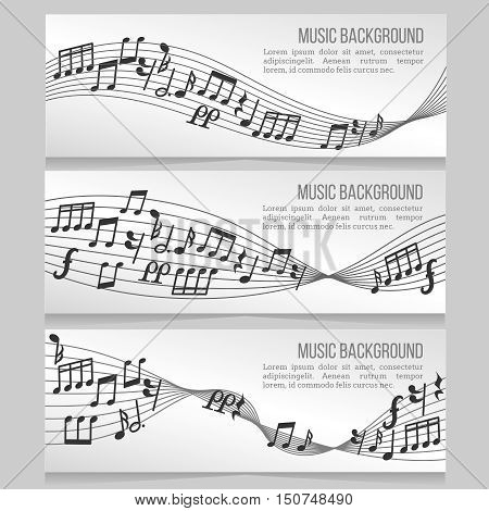 Music banners vector set with music notes and sound wave. Card with music note for melody illustration