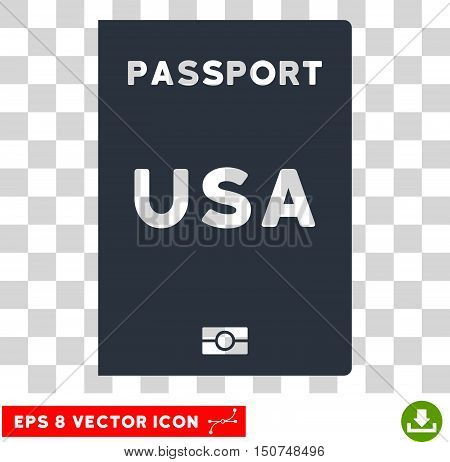 Vector American Passport EPS vector pictogram. Illustration style is flat iconic smooth blue symbol on a transparent background.