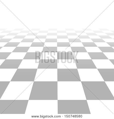 Floor with tiles, perspective grid vector. Background template with squares white and gray color illustration