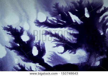 ink blot flowed dark abstract background association
