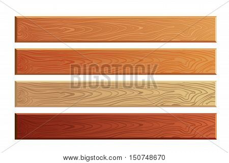 Wood planks with wooden texture vector set. Timber board textured illustration