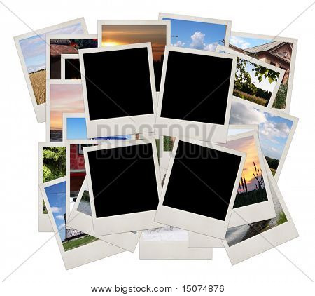 Stack of photo shots with space for your photos, isolated