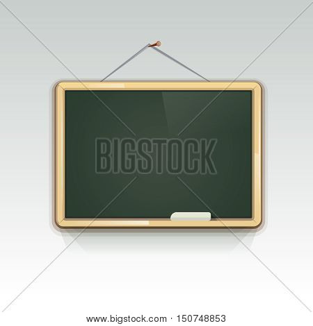 Blank school blackboard hanging on wall for education and write information, vector illustration