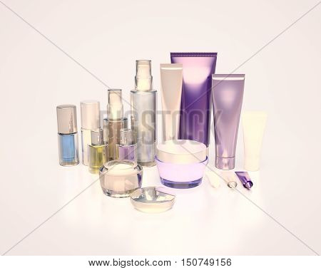 Daily beauty care cosmetic. Face cream eye cream serum and lip balm. Evening Care of skin hair. 3D illustration