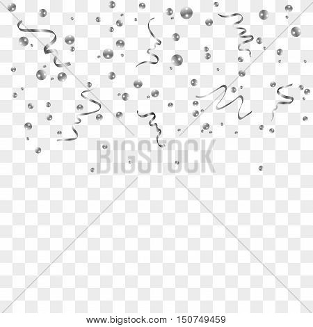 Silver confetti celebration isolated on transparent background. Falling abstract decoration for party birthday celebrate anniversary or event festive. Festival decor. Vector illustration