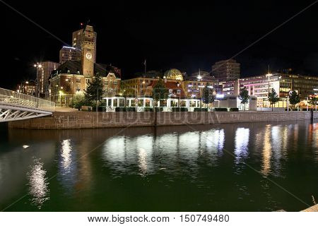 MALMO SWEDEN - AUGUST 16 2016: View of beautiful night scene and Malmo canals and Suellshamnen in Malmo Sweden on August 16 2016.