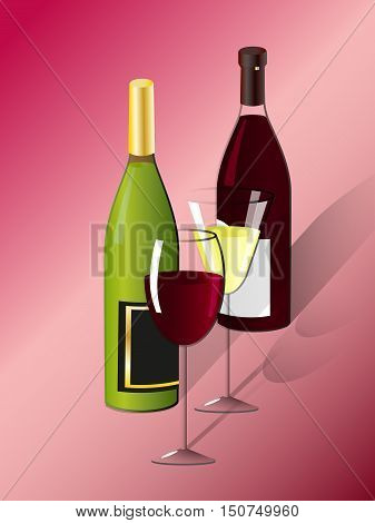 Two glasses and two bottles of white and red wine, vector illustration