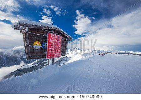 Kitzbuehel, Austria - February 17, 2016 - Skiers Skiing In Kitzbuehel Ski Resort With 54 Cable Cars