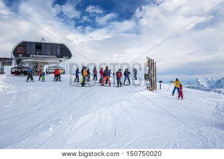 Kitzbuehel, Austria - February 17, 2016 - Skiers Skiing In Kitzbuehel Ski Resort On The Top Of Stein