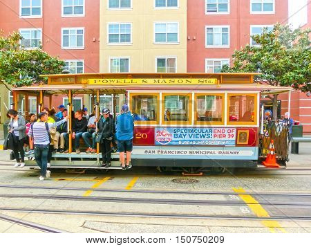 San Francisco California United States of America - May 04 2016: Famous Cable Car in San Francisco California.