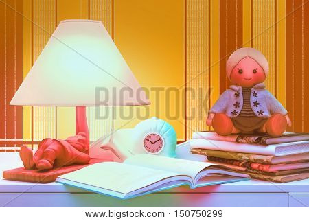 Children's fairy tale for the night. 3D illustration