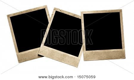 three old photos isolated on white background with clipping path