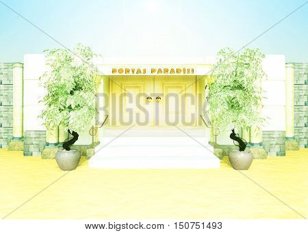 Bible gate in paradise. Concept about gate to bible paradise. 3D illustration