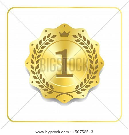 Seal award gold icon. Blank medal with laurel wreath isolated on white background. Golden design emblem. Symbol of assurance winner guarantee and best label premium quality. Vector illustration