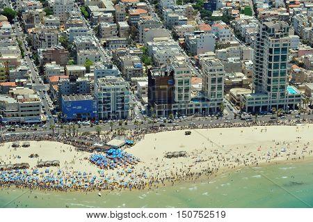 Aerial view of Tel-Aviv beach on the coastline of the Mediterranean sea. Israel.
