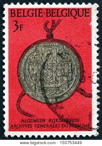 BELGIUM - CIRCA 1966: a stamp printed in the Belgium shows Seal of Charles V Royal Archives circa 1966