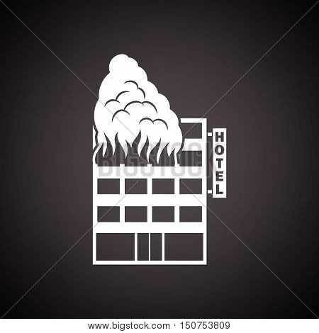 Hotel Building In Fire Icon