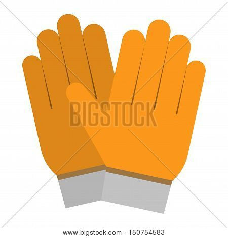 yellow gloves, hand protection isolated on white background. Gloves safety on white background. Gloves leather sportswear. Hand protection