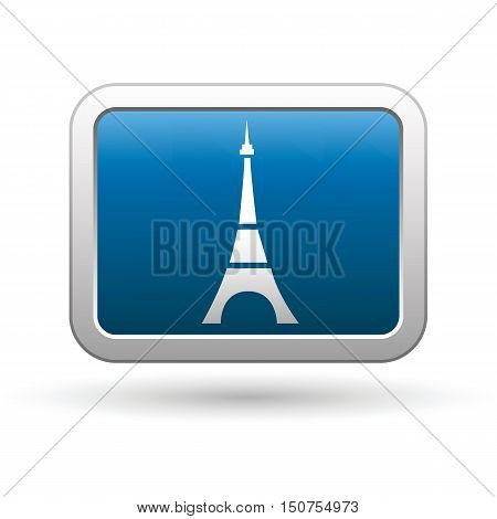 Eiffel tower icon on the blue with silver rectangular button. Vector illustration