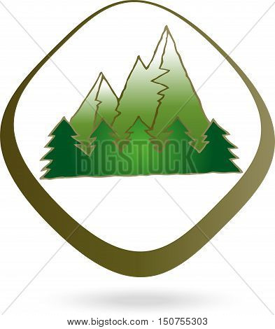 Mountains and forest logo, nature colored logo