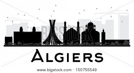 Algiers City skyline black and white silhouette. Simple flat concept for tourism presentation, banner, placard or web site. Business travel concept. Cityscape with landmarks