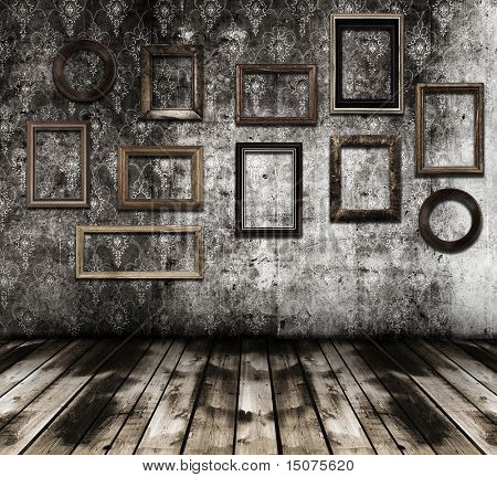 old grunge interior wooden frames