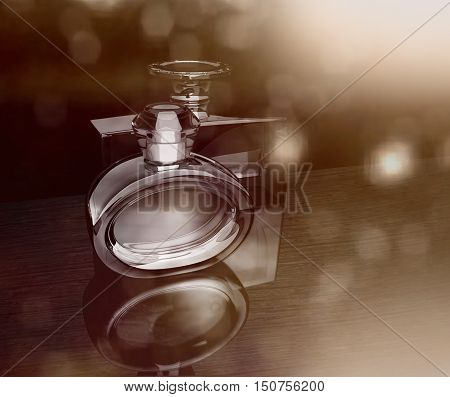 Bokeh background with perfume bottles. 3D illustration