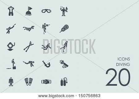 diving vector set of modern simple icons