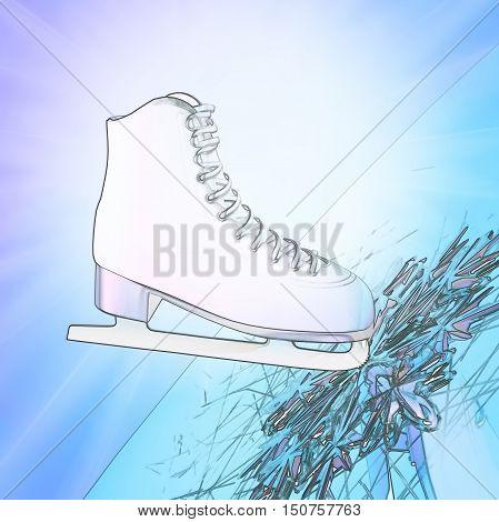 Figure skating. Tilted blue version ice skates with reflection. 3D illustration