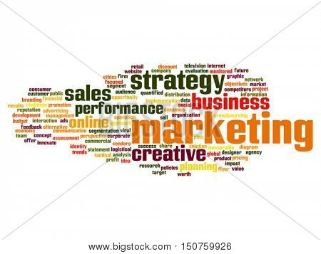 Vector concept or conceptual business marketing target word cloud isolated on background metaphor to advertising, strategy, promotion, branding, value, performance, planning, challenge or development