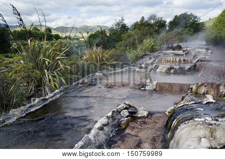Landscape of hot water spring pools in Rotorua north island New Zealand.
