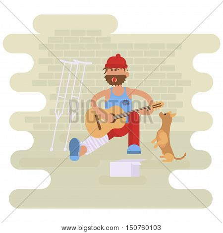 Strolling musician. Homeless man with Dog. Vagrant Guitarist  with leg in a plaster cast in dirty rags playing the guitar. Asking for help.