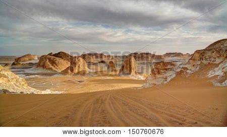 Panorama of El-Agabat valley in White desert Sahara Egypt