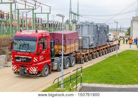 CZECH REPUBLIC, PRESTICE, 11 NOVEMBER, 2014:Transport of heavy, oversized loads  and construction machinery