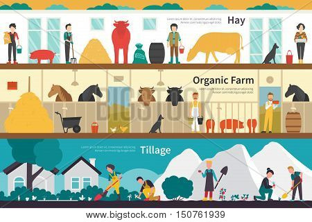 Hay Organic Farm Tillage flat school interior outdoor concept web. Career Chart Fun