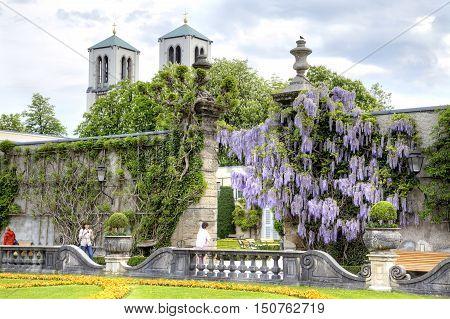 SALZBURG AUSTRIA - May 05.2012: An ancient garden of palace complex Mirabelle is in city Salzburg