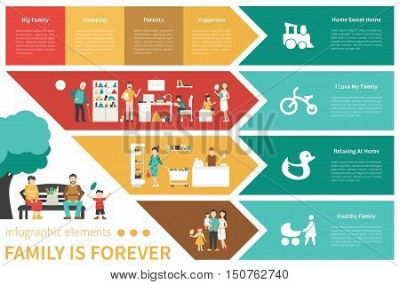 Family Is Forever infographic flat vector illustration. Editable Presentation Concept
