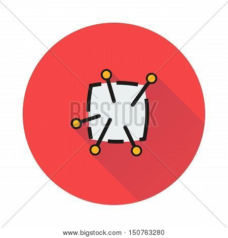 Pincushion with pins icon on round background Created For Mobile Infographics Web Decor Print Products Applications. Icon isolated. Vector illustration