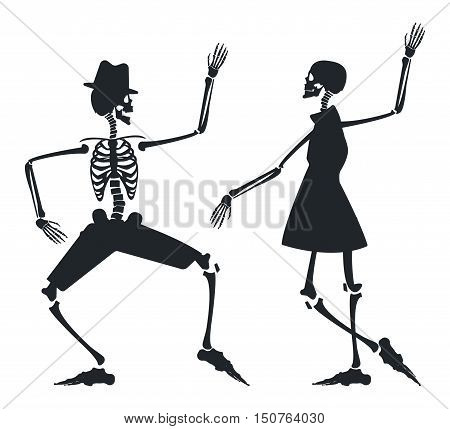 Halloween background with Dancing Skeleton. Image can be used for Halloween greeting cards, posters, banners, invitations and more creative designs.