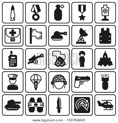 Vector icons set for military infographics mobile game on button background