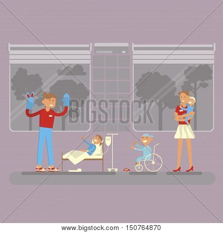 Volunteering. Flat young man and woman help ill kids. Volunteer show Puppet theater for sick child. Vector illustration volunteerism in hospital
