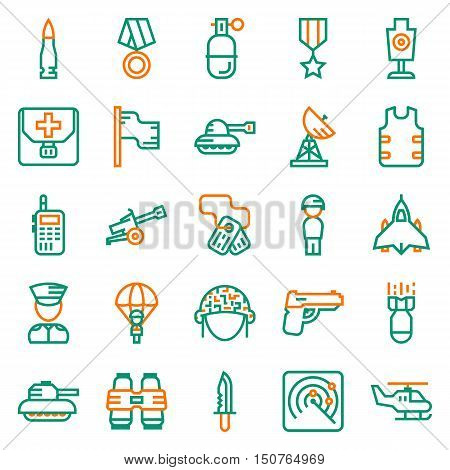 Vector icons set for military infographics mobile game on white background