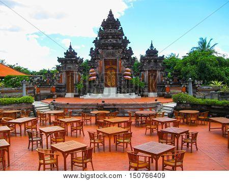 Bali Indonesia - December 25 2008: The traditional Balinese theater and park in Ayodya Resort Bali at Nusa Dua Bali Indonesia