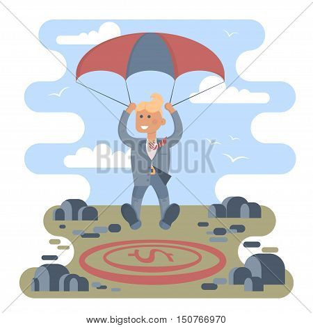 Businessman with parachute focus to landing on a money icon target in the middle of the stones. Vector illustration business success concept. Character design.
