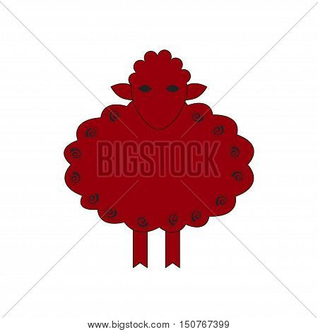 Chinese zodiac symbol red sheep made by traditional Chinese paper cut arts. Isolated on white background. Vector es10 illustration.