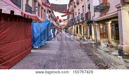 Streets and Medieval Fair (closed) in Alcala de Henares,dawn during the week of Cervantes (10/06/2016)