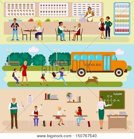 Set of Isolated illustrations of school bus, dining-hall and class room with students children in flat design. Teachers and pupils in different poses. Vector eps10